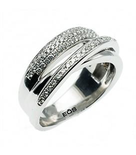 Anell dór blanc de 18Kts amb 96 diamants de talla brillant total 0,48 quilats G-VS